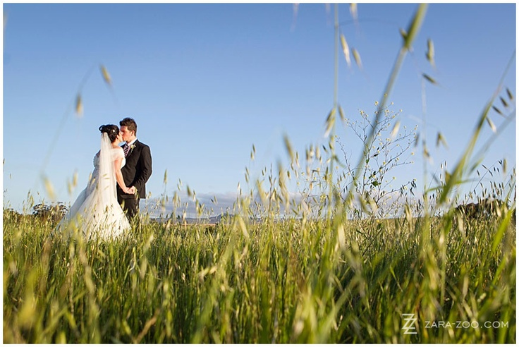 Wedding Couple photos in the field wit blue skies - Photo taken at Kleinplasie Country House near Bredasdorp - Photo by ZaraZoo Photography