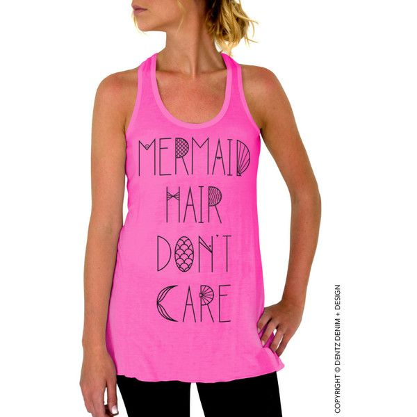 Mermaid Hair Don't Care Tank Top Pink With Black Flowy Tank Top ($19) ❤ liked on Polyvore featuring tops, pink, tanks, women's clothing, racer back tank tops, pink tank top, racerback tank, loose racerback tank and cut loose shirt