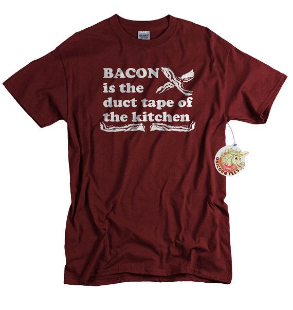 BACON is the duct tape of the kitchen mens t shirt geekery tshirt funny foodie shirt mens funny bacon tee Christmas gift for bacon lover on Etsy, $14.99 perfect for Sean!