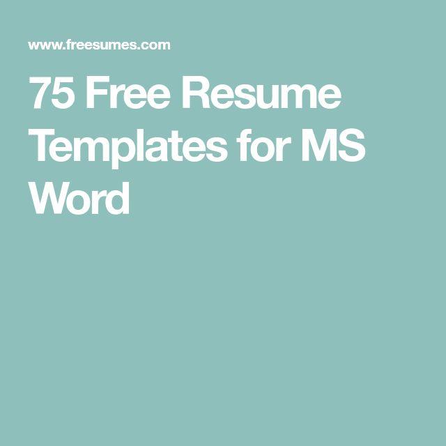 Best 25+ Free resume templates word ideas on Pinterest Resume - microsoft resume templates