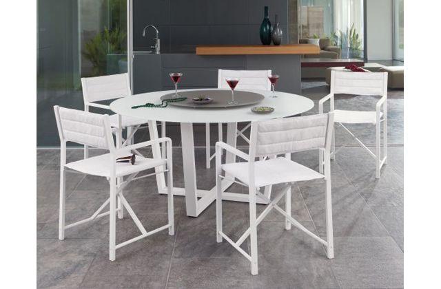 Cross Alu white outdoor dining setting by Manutti.  http://www.coshliving.com.au/outdoor-brands/manutti/cross-alu/
