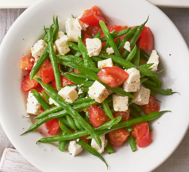 Throw together creamy feta, juicy tomatoes and tender green beans to whip up this super simple side dish in just 10 mins