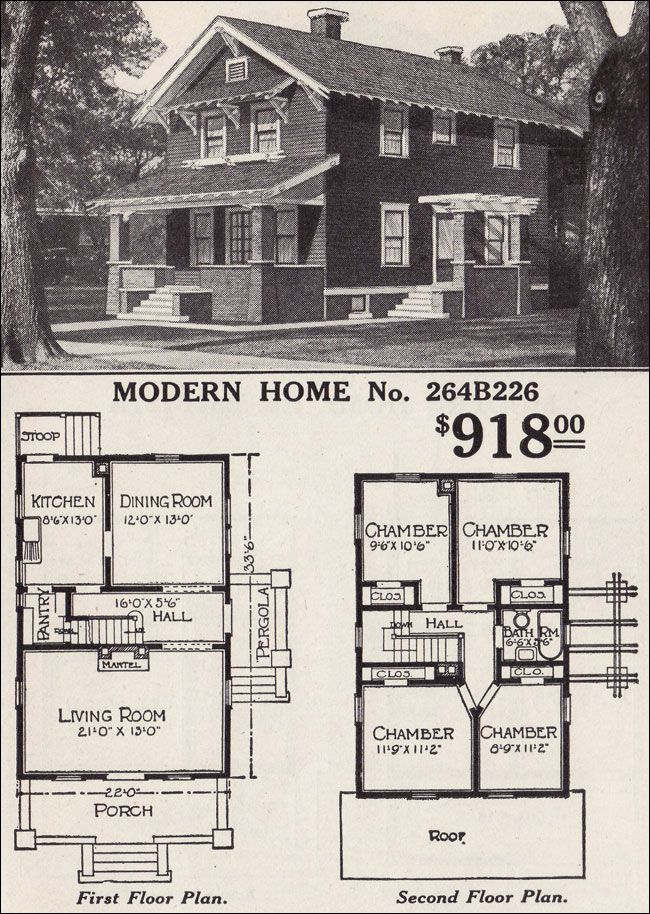 Front gable two story bungaloid style 1916 sears modern for Modern vintage house designs