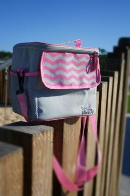 Pink or Blue Chevron Lunch Cooler  | Rectangle in shape, and fully insulated, with an adjustable carry strap and outer pocket.  You are able to pack enough food, drinks and nappy change accessories for a big day out!  Ideal for daycare centres and family daycare. Also great for a working parents lunch bag.