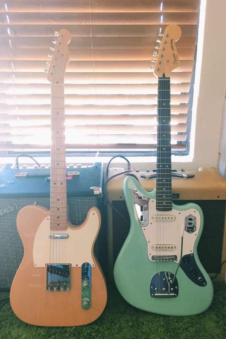 Fender Baja Telecaster Blonde and Squier Jaguar Surf Green Guitars