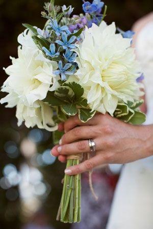 Bouquet of dahlia, delphinium, and tweedia