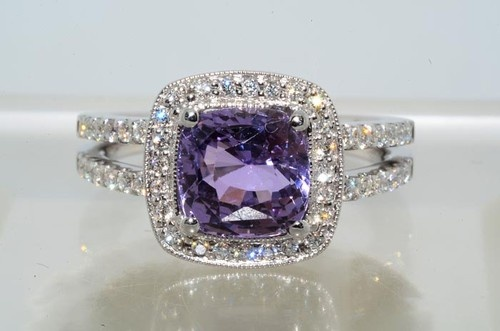 """Grayish Pinkish Purple"" Sapphire & Diamond Ring - Worth $10,000 but sold for only $655 - Dream ring <3 I want it now"