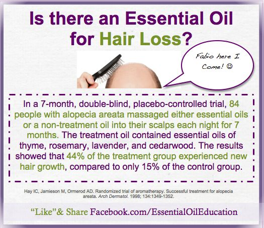"Essential Oils for Hair loss~ By far the most common cause of hair loss in men is androgenetic alopecia, also referred to as ""male pattern hair loss"" or ""common"" baldness. It is due to the male hormone dihydrotestosterone (DHT) acting on genetically-susceptible scalp hair follicles that causes them to become progressively smaller and eventually disappear. This process is called ""miniaturization.""- Berstein Medical"