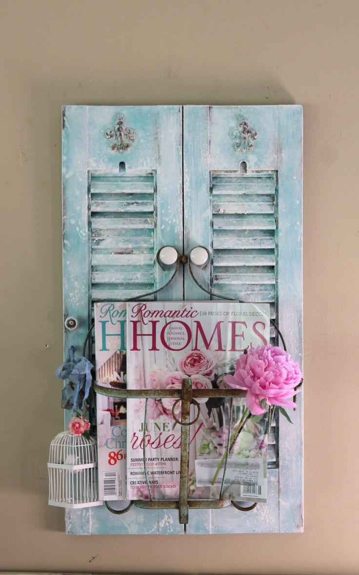 REPURPOSED Decorative Wood Shutter with Wire Basket Magazine Rack Hand Towel Holder Beach Decor French Cottage Distressed Hand Painted by TheVintageStories on Etsy https://www.etsy.com/listing/237470680/repurposed-decorative-wood-shutter-with