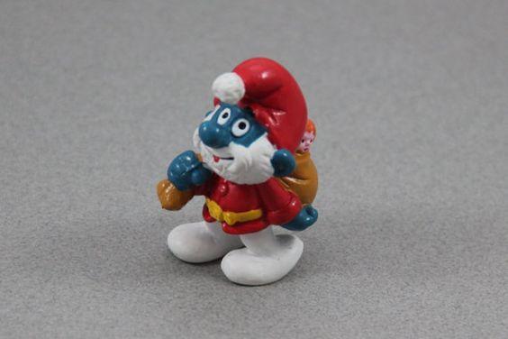 1981 Santa Claus Smurf Figure, Christmas Smurf, Papa Smurf Santa Smurf, Vintage Peyo Schleich Smurf Figurine, The Smurfs