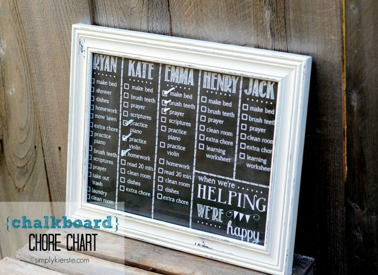 Dry Erase Chalkboard Chore Chart!  After many different chore charts, the dry erase style is my VERY favorite! Easy, low maintenance, and super cute! {simplykierste.com} #chorecharts #familylife