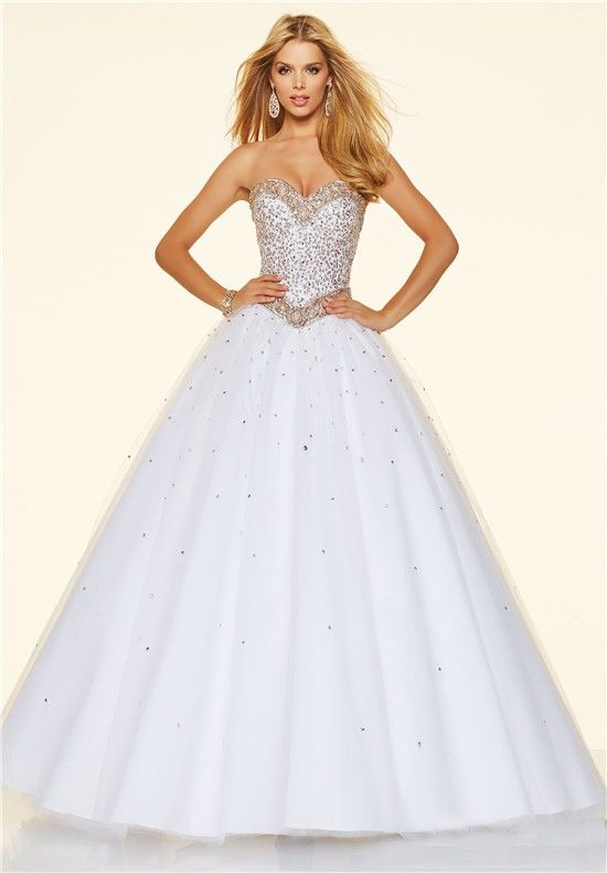 <b>Princess Ball Gown</b> Strapless <b>White</b> Tulle Beaded Prom Dress ...