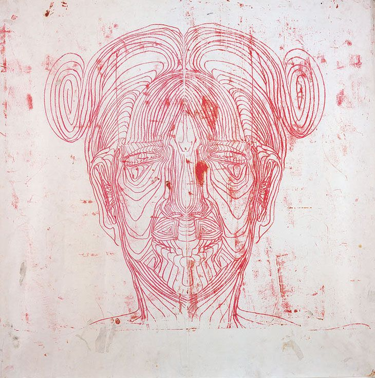 Matthew Monahan's painting has good use of line      to create this picture of a head. He has used spirals, normal lines and also variety of shapes.
