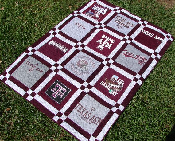 T-shirt Quilt Blanket Throw made from Texas A&M Aggies T-shirts Breaux Bunch Quilts Breauxbunchquilts www.etsy.com/shop/Breauxbunchquilts