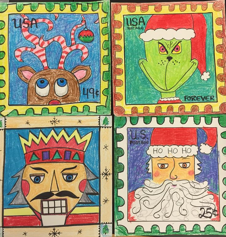 Four postage stamp holiday theme. Each year at Christmas I have the 3rd, 4th and 5th grades design a Christmas postage stamp. It is also a good lesson in the history of U.S. Postage and postage stamp art.