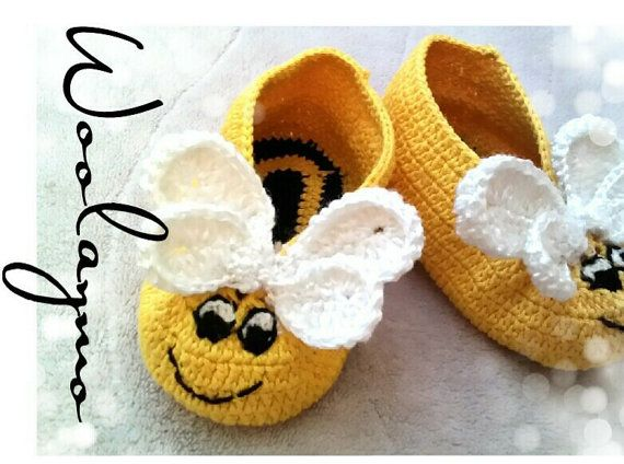 Bee 100% Cotton Crochet Shoes Hand Knitted Baby Boots by WoolayMo