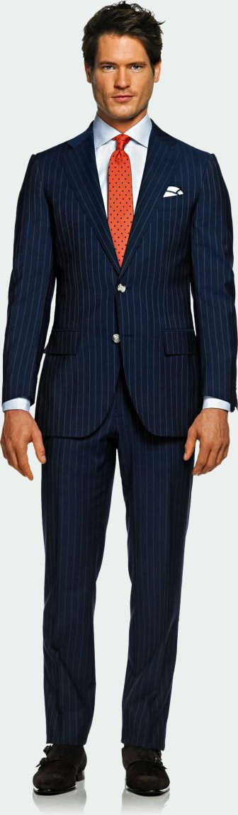 Navy Blue Suit and Pinstripes with Contrasting and Complementary Orange Tie