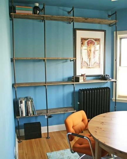 oh man, a diy for plumbing pipe shelves. it's so danish and perfect.: Diy'S Bookshelves, Plumbing Pipes, Diy'S Plumbing, Building Diy'S, Book Shelves, Industrial Pipes Shelves, Diy'S Shelves, Pipe Shelves, 051311Shelves09 Rect540