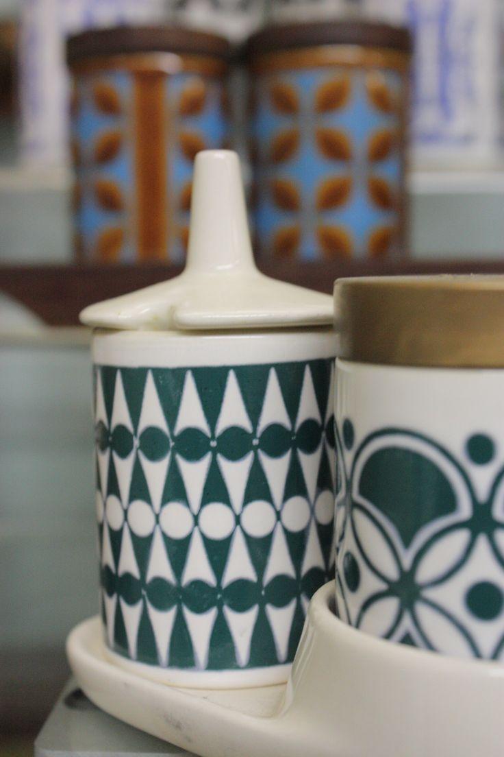 Hornsea Pottery Geometric Cruets at the Hornsea Museum