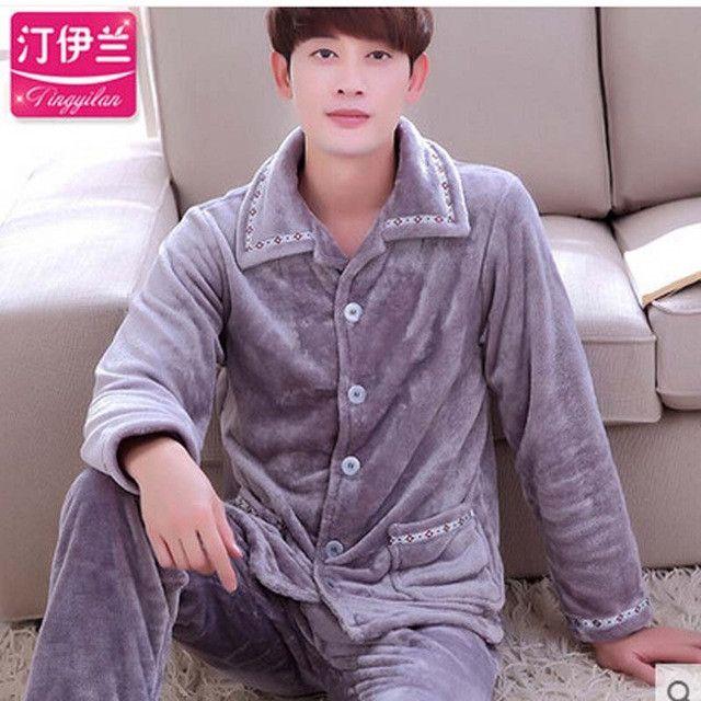 Mens Pyjama Sets Winter Fashion Long Sleeve Cardigan Men Flannel Pajamas Suits For Male Sleepwear Nightwear Loungewear L-3XL