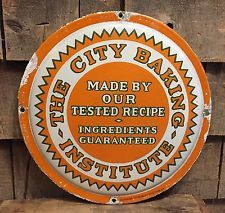 RARE Early 1900's City Baking Institute Bakery Delivery Truck Porcelain Sign