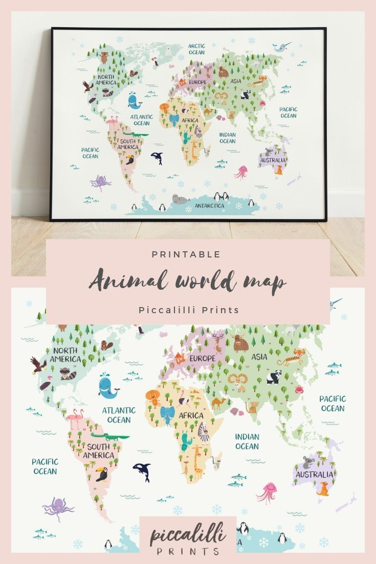 Nursery World Map Pastel Nursery Decor Safari Nursery Art