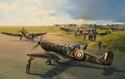 18th August - 54 Squadron's Commanding Officer, Squadron Leader James Leathart, taxis out at Hornchurch to prepare for take-off. Quickly following, the aircraft of New Zealander Colin Gray is guided out from dispersal by his ground crew. Gray would claim 3 Bf 110s in the encounter