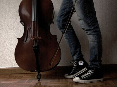This makes me think of Mad with her cello & chucks