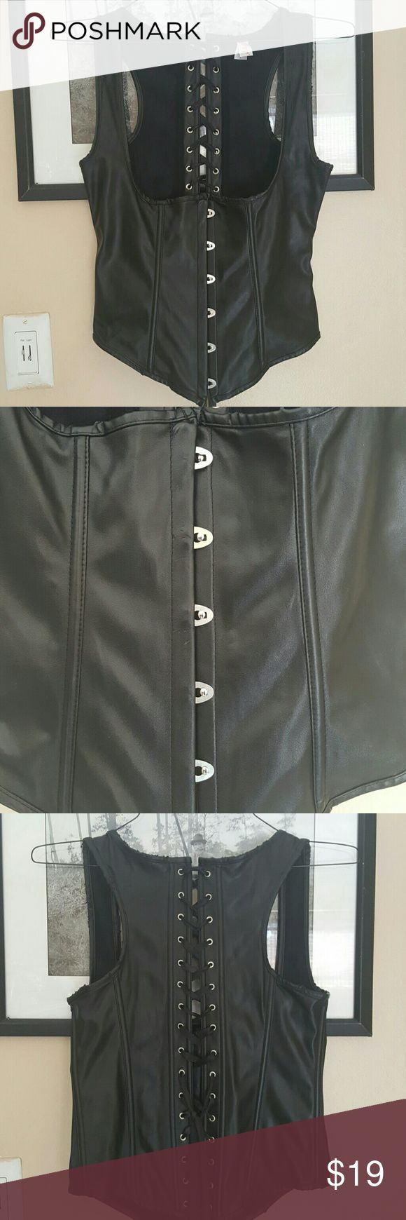 Vegan leather corset Vegan leather corset hooks in front  Laces on back Worn once Tops