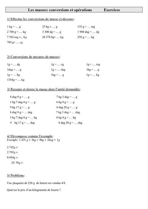 Mathématiques- Exercices sur les mesures cm1-cm2 cycle 3: Les masses - conversions et opérations - Pass Education