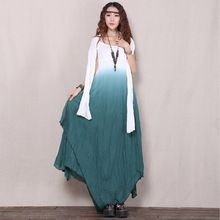 Summer Dress Solid Color Casual Women Dress Plus Size Women Clothing Slash Neck Vintage Dress Cotton Linen Maxi Dress with Scarf(China (Mainland))