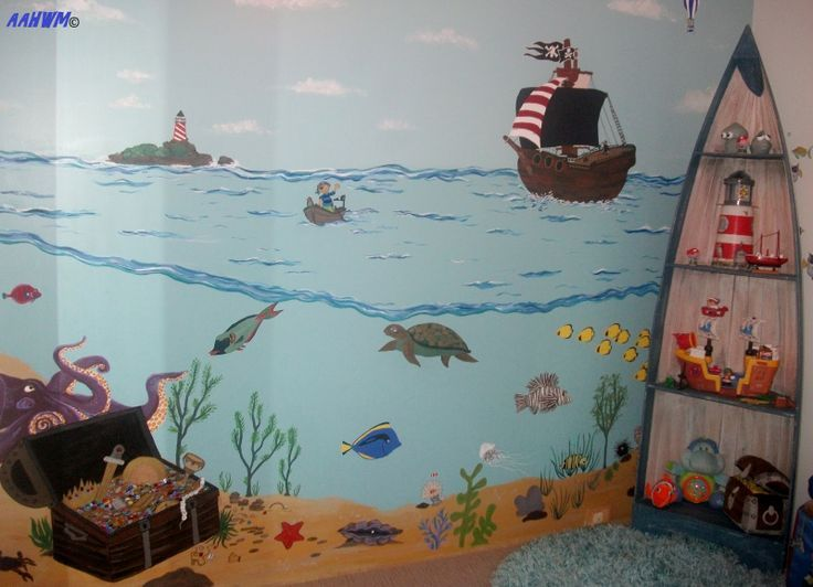 Image result for Pirate mural baby room