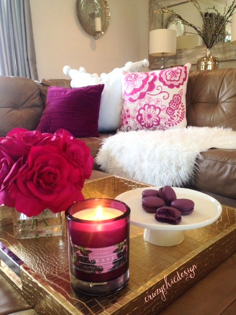 Add some pink and white pillows to your sofa to freshen it up for Spring. Flowers, a sweet candle, and delicious macarons will keep your guests happy too! Find it all at HomeGoods. Sponsored Pin