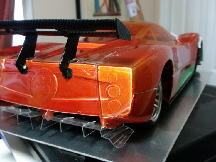 First iteration of Swan neck rear wing mounts.  New custom wing modeled after Zonda LM to be implemented. Functional diffusers modeled after the actual supercar.  Real look exhausts to be added.  Rear vents to be opened up and covered with grille like material.  LED lights to be added as well. [Custom Pagani Zonda 1/10 RC prototype]