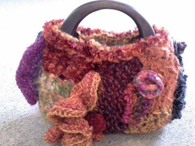 Freeform knitted bag (back) using Marion's & my wool by Kath Cole