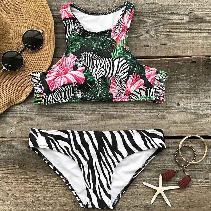 Cupshe Free-roaming Zebra Bikini Set