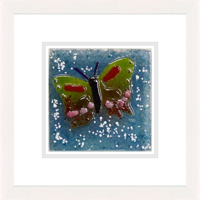 'Butterfly l' by Natasha McCullough. This piece has been hand crafted, fused & framed by Spires Art in Omagh. Available in size 12in X 12in.