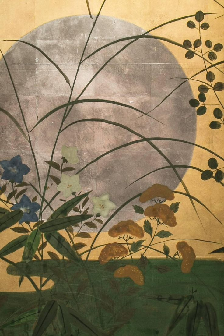 Antique japanese screens for sale - Japanese Screen Silver Moon Over Autumn Grasses Detail