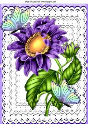 Pretty purple sunflower on lace with rainbow butterflies A4 on Craftsuprint - Add To Basket!