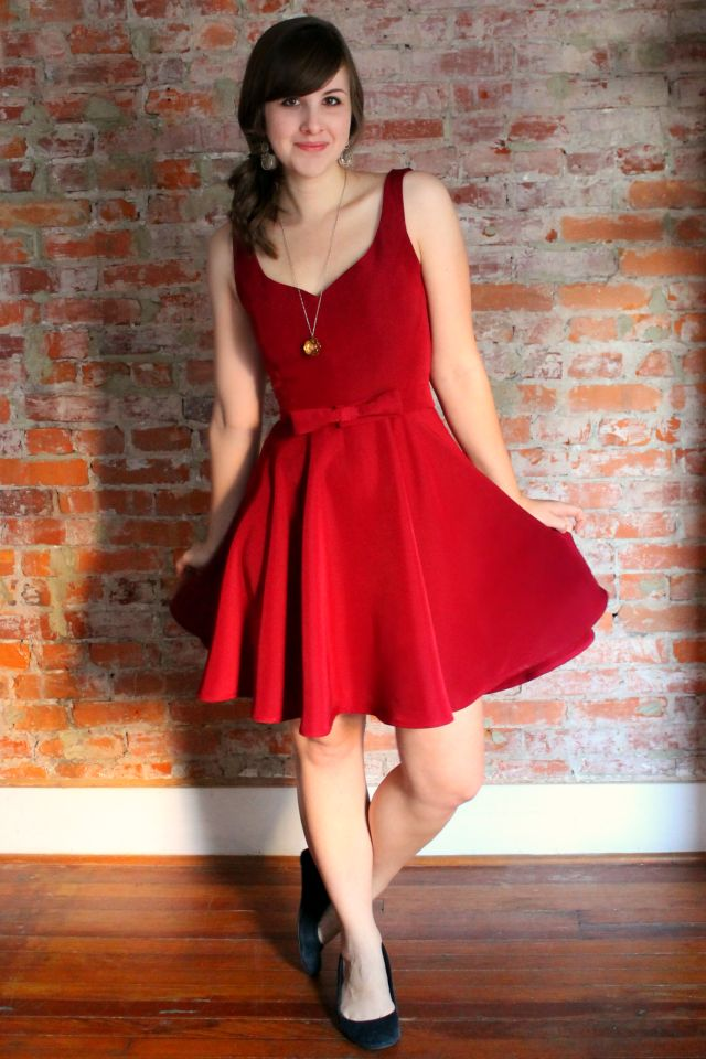 Create / Andrea's classy red swingy party dress. gorgeous.