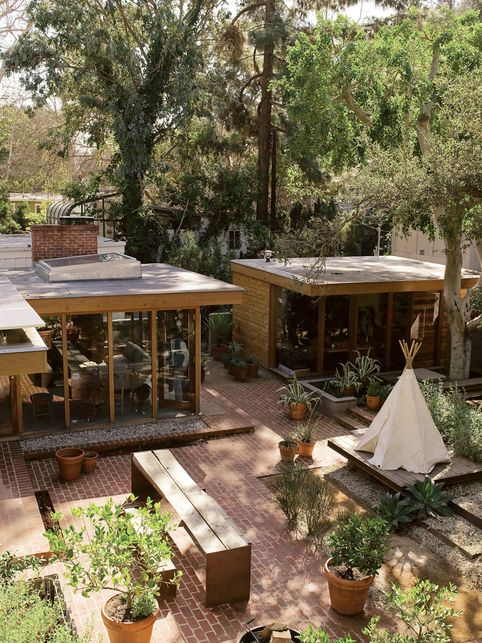 Architectural exterior--nice use of outdoor living space
