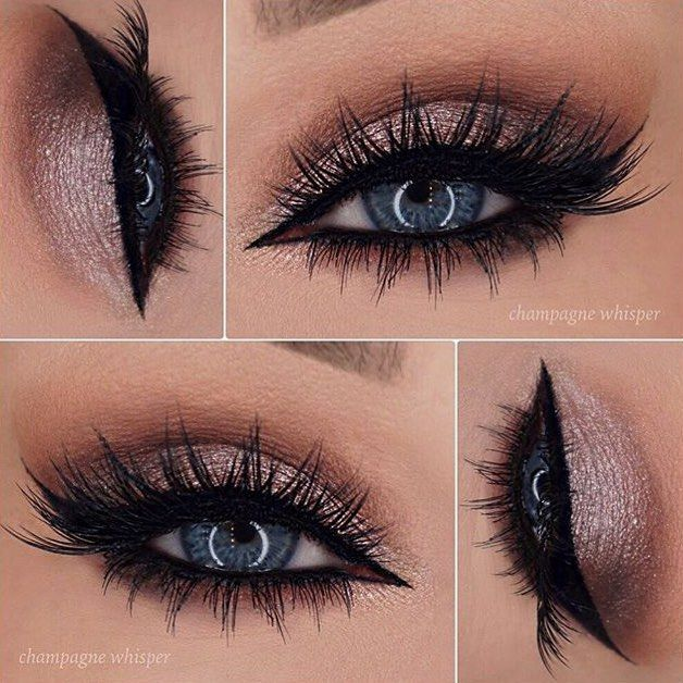 champagne shimmer, black winged liner and lots o' lashes - LOVE!! ~ we ❤ this…