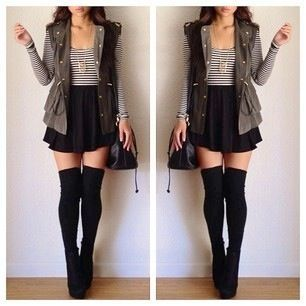 thigh high socks outfit - Google Search