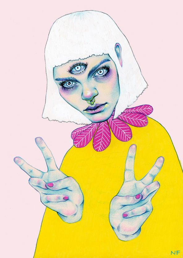 By Natalie Foss #illustration #drawing #colored #pencils #yellow #eyes