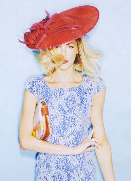 Jennifer Hawkins looking amazing in pale blue and lace #grazia #racewear #RacingStyle #SpringCarnival