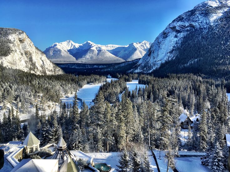 View from the Fairmont Banff Springs of Bow River Valley. Banff, Alberta, Canada.