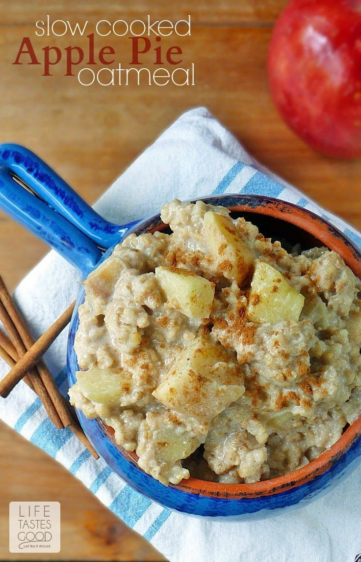 Slow Cooked Apple Pie Oatmeal | by Life Tastes Good is a comforting ...