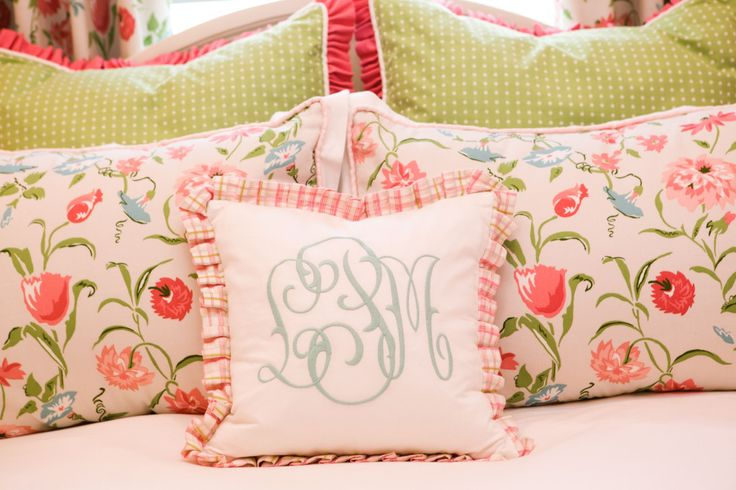 My goal for the design of this room was to create a preppy yet classic design for a young toddler girl. The only requests were to incorporate pink and green with flowers and monograms. I think we successfully created a classical little girl's room.