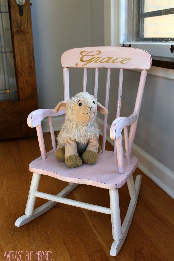 Such a cute idea! Paint a children's rocking chair from the thrift shop or craft store and give it as a baby gift! Personalize it with the child's name, too, for an extra special touch.