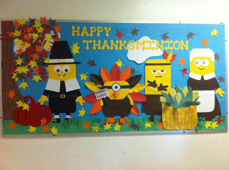 November Classroom Decoration Ideas ~ Happy thanksminion thanksgiving november bulletin board